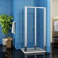 760 x 760 mm Bifold Glass Shower Enclosure Reversible Folding Shower Cubicle Door with Side Panel + Stone Tray - ELEGANT
