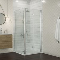 760 x 900 mm Bifold Shower Enclosure Glass Shower Door Reversible Folding Cubicle Door with Shower Tray + Side Panel - ELEGANT