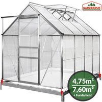 Polycarbonate Garden Greenhouse 6x8ft 250x190cm Base Clear Walk-In Aluminium Frame Slide Door Plants Grow House - Deuba