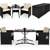 Casaria - DEUBA Poly Rattan Cube Set Size Choice Black Wicker Garden Furniture Outdoor Patio Conservatory Dining Table Chairs Stool (2 + 1)