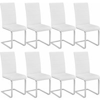 Tectake - 8 dining chairs rocking chairs - dining room chairs, kitchen chairs, dining table chairs - white