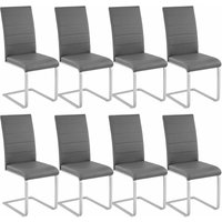 Tectake - 8 dining chairs rocking chairs - dining room chairs, kitchen chairs, dining table chairs - grey