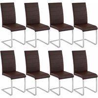Tectake - 8 dining chairs rocking chairs - dining room chairs, kitchen chairs, dining table chairs - brown