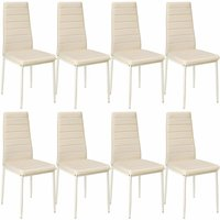 8 dining chairs synthetic leather - dining room chairs, kitchen chairs, dining table chairs - beige - TECTAKE