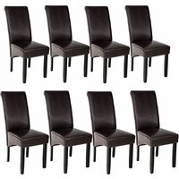 8 Dining chairs with ergonomic seat shape - dining room chairs, kitchen chairs, dining table chairs - brown