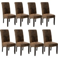 Tectake - 8 Dining chairs with ergonomic seat shape - dining room chairs, kitchen chairs, dining table chairs - antique brown