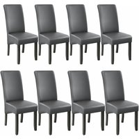 8 Dining chairs with ergonomic seat shape - dining room chairs, kitchen chairs, dining table chairs - gris