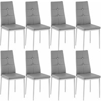 Tectake - 8 dining chairs with rhinestones - dining room chairs, kitchen chairs, dining table chairs - grey