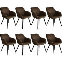 Tectake - 8 Marilyn Fabric Chairs - dark brown/black