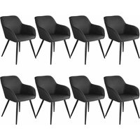 8 Marilyn Fabric Chairs - anthracite/black - TECTAKE