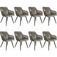 8 Marilyn Faux Leather Chairs - dark grey/black