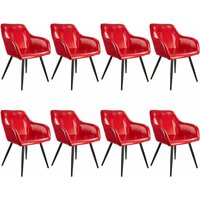 8 Marilyn Faux Leather Chairs - burgundy/black