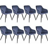 8 Marilyn Velvet-Look Chairs - blue/black