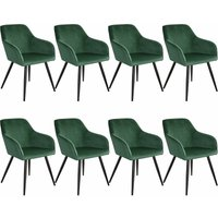 8 Marilyn Velvet-Look Chairs - dark green/black - TECTAKE