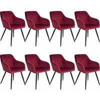 8 Marilyn Velvet-Look Chairs - burgundy/black