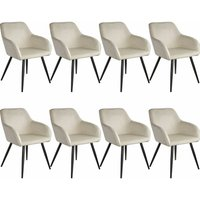 8 Marilyn Velvet-Look Chairs - black/cream - TECTAKE