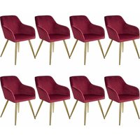 8 Marilyn Velvet-Look Chairs gold - bordeaux/gold - TECTAKE