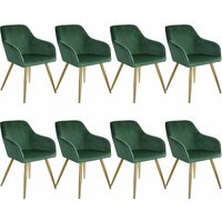 8 Marilyn Velvet-Look Chairs gold - dark green/gold - TECTAKE