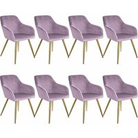 Tectake - 8 Marilyn Velvet-Look Chairs gold - pink/gold