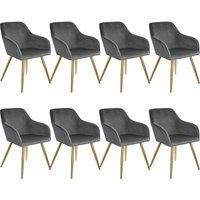 8 Marilyn Velvet-Look Chairs gold - dark gray/gold