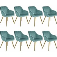 8 Marilyn Velvet-Look Chairs gold - turquoise/gold - TECTAKE