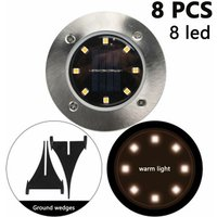 8 Pack Solar Disk Lights 8 LED Solar Ground Lights Outdoor Waterproof Stainless Steel in Ground Solar Lights for Walkway Pathway Lawn Patio Yard