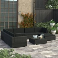 Youthup - 8 Piece Garden Lounge Set with Cushions Poly Rattan Black
