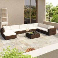 Youthup - 8 Piece Garden Lounge Set with Cushions Poly Rattan Brown
