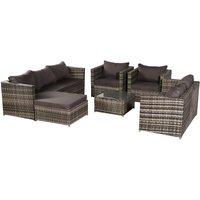 8-Seat Garden Rattan Furniture Dinning Sets Patio Outdoor Sofa With Free Rain Cover Dark Gray Sofa Cover -Gray Rattan