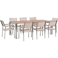 8 Seater Garden Dining Set Eucalyptus Wood Top Beige Synthetic Chairs Grosseto