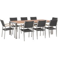 Beliani - 8 Seater Garden Dining Set Eucalyptus Wood Top with Black Rattan Chairs GROSSETO