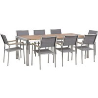 Beliani - 8 Seater Garden Dining Set Eucalyptus Wood Top with Grey Chairs GROSSETO
