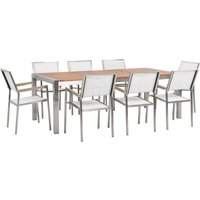Beliani - 8 Seater Garden Dining Set Eucalyptus Wood Top with White Chairs GROSSETO