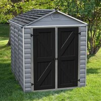 8 x 6 (2.28m x 1.85m) Double Door Apex Plastic Shed with Skylight Roofing