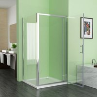 800 x 700 mm Pivot Shower Enclosure Door 6mm Safety Nano Glass Shower Cubicle with 700 mm Side Panel - No Tray - Miqu