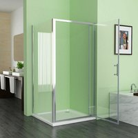 800 x 700 mm Shower Enclosure DBP Cubicle Door with 700 mm Side Panel 6mm Easy Clean NANO Glass Bifold Door - No Tray - Miqu