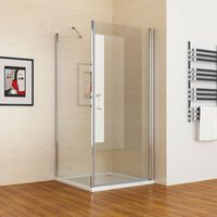 800 x 760 mm MIQUShower Enclosure Frameless 180° Pivot Door with 760 mm Side Panel 6mm Clear Safety Nano Glass 1850 Height - No Tray