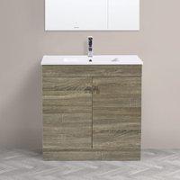 800mm 2 Door Grey Oak Effect Wash Basin Cabinet Vanity Sink Unit Bathroom Furniture