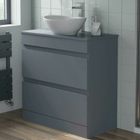 800mm Grey Bathroom Furniture Countertop Vanity Unit Oval Basin - ARTIS