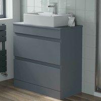 800mm Grey Bathroom Furniture Countertop Vanity Unit Rectangular Basin - ARTIS