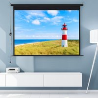 84 Electric Pull-Down Projector Screen 4:3 White Matte Home Cinema