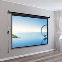 100 Electric Pull-Down Projector Screen 4:3 White Matte Home Cinema