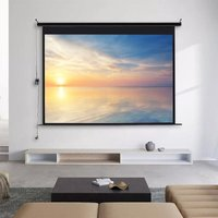92 Electric Pull-Down Projector Screen 4:3 White Matte Home Cinema