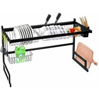 85CM 2 Tier Stainless Steel Over Sink Dish Drying Rack Kitchen Supplies Rack