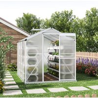 8ft × 6ft Greenhouse Polycarbonate Aluminium Greenhouse with Window and Sliding Door - LIVINGANDHOME