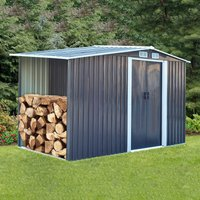 Livingandhome - 8ft x 4ft Grey Garden Metal Storage Shed With Log Wood Store Room Space