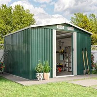 Livingandhome - 8ft x 8ft Green Metal Garden Shed Garden Storage WITH FREE BASE Foundation