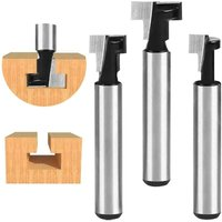 8mm T-Slot Cutter, T-Slot Router Shape Router Bits, 3Pcs (7.93 / 9.52 / 12.7mm) Cutter Shank with Blade Wood Cutters For Power Tools Woodworking Tool
