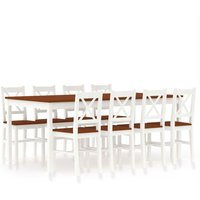 Youthup - 9 Piece Dining Set Pinewood White and Brown