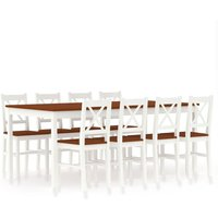 Zqyrlar - 9 Piece Dining Set Pinewood White and Brown - White